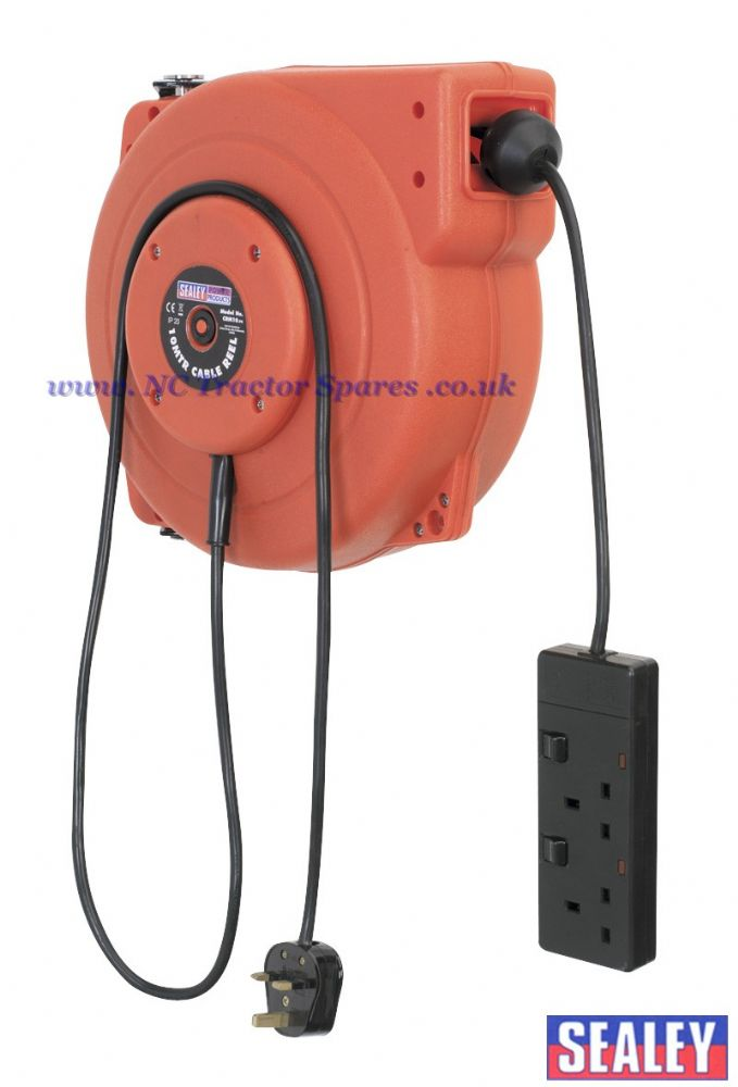 Cable Reel System Retractable 10mtr 2 x 230V Socket